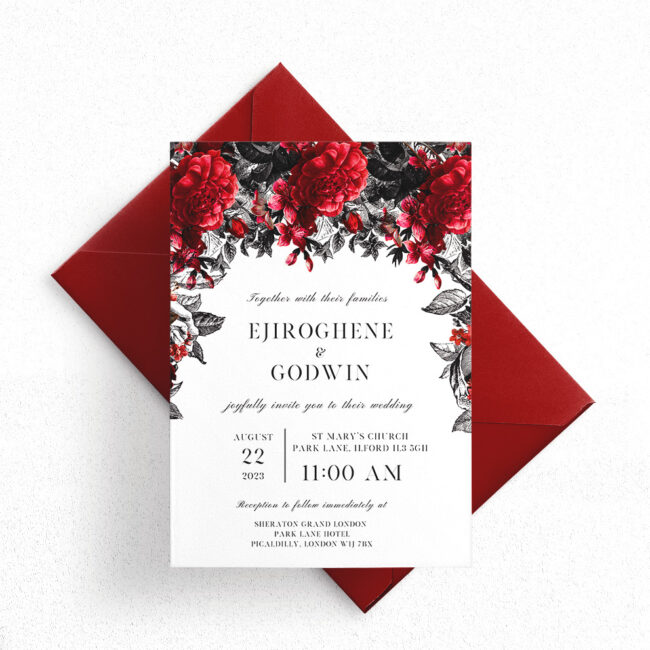 Red and Black Floral Wedding Invitation