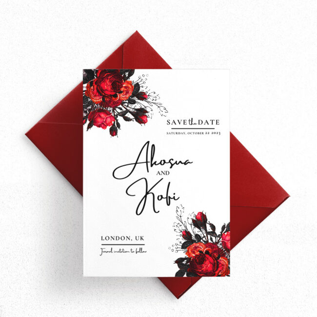 Red and Black Floral Wedding Save The Date Invitation